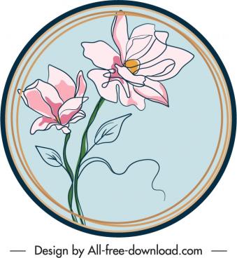 flower label template handdrawn sketch elegant retro design