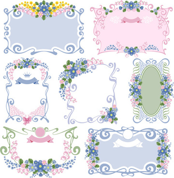 flower ornament frames vector set