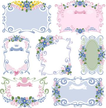 flower ornament frames vector set