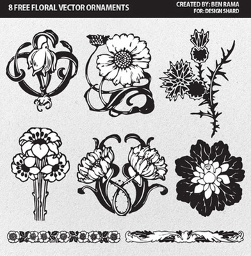 flower ornaments of borders and pattern vector