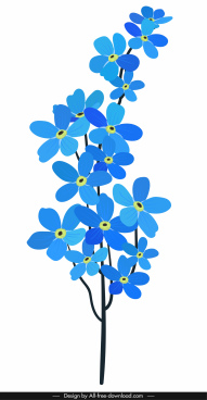 flower painting blue decor classical flat handdrawn sketch