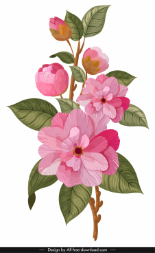 flower painting bright colorful classical sketch