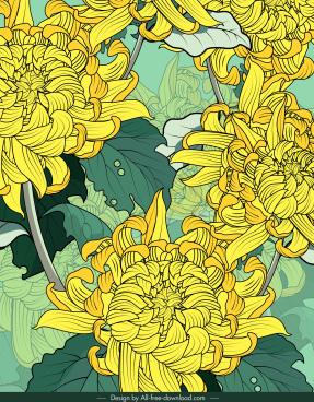 flower painting classical closeup design blurred decor