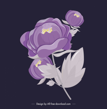 flower painting classical violet buds sketch