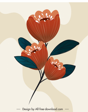 flower painting colored classical design