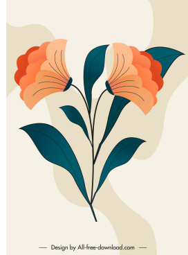 flower painting colored classical flat sketch