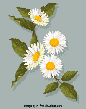 flower painting colored retro design blooming sketch