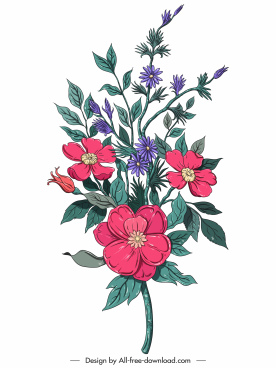 flower painting colorful retro sketch blooming decor