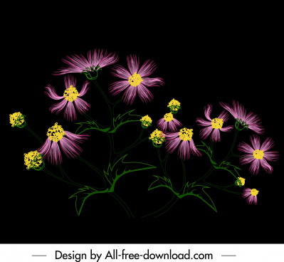 flower painting dark colorful blooming sketch
