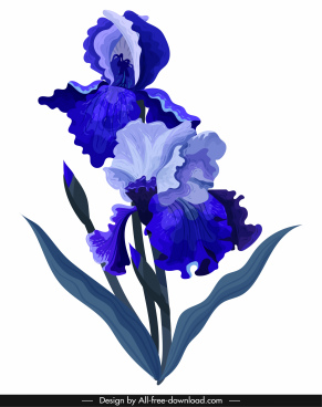 flower painting dark violet decor classical handdrawn sketch