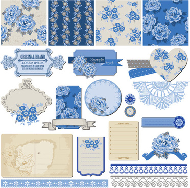flower pattern and labels with border design elements vector