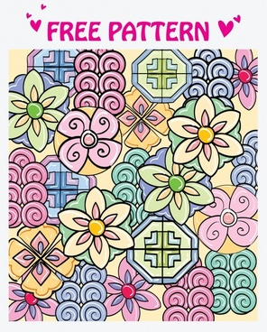 floral pattern colorful flat doodle decor