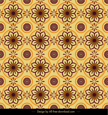 flower pattern circles decor classical repeating symmetric design