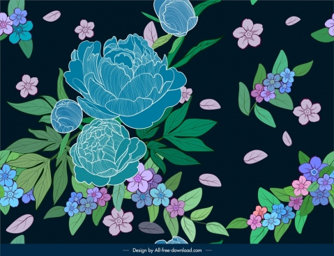 flower pattern dark retro colorful decor