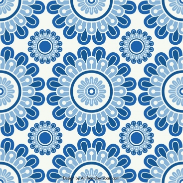 flower pattern template classical blue flat repeating decor
