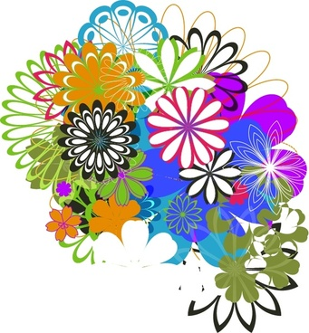 blooming flowers background colorful messy design