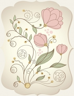 botanical pattern template colored classical flat handdrawn