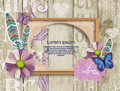 flower photo frame beautiful vector