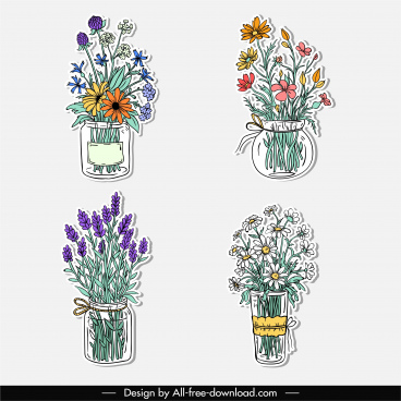 flower pots icons elegant classic handdrawn sketch