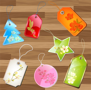 flower product tags set
