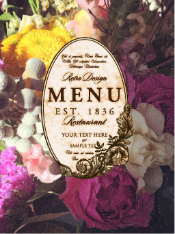 flower restaurant menu cover vintage styles vector