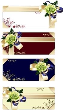 flower ribbon gift card vector