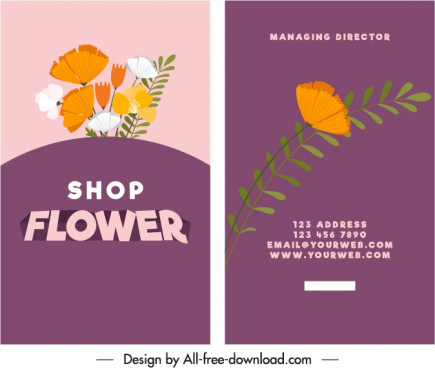 flower shop business card template colorful classic decor