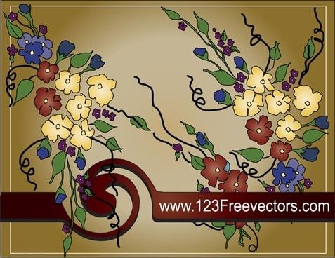 Flower text frame vector