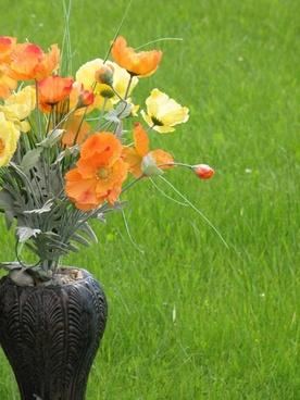 flower vase grass closeup