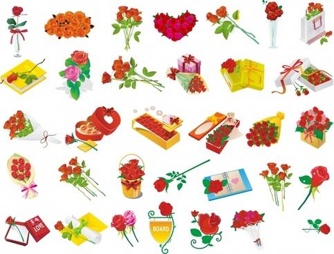 rose gift icons collection colored 3d symbols