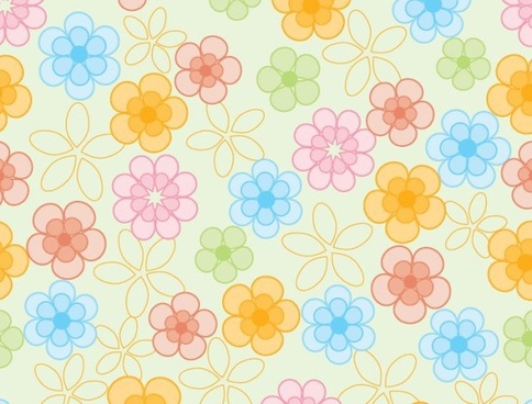 flowers pattern colorful classical flat repeating decor