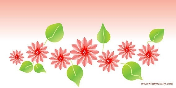 floral background red flowers green leaves design