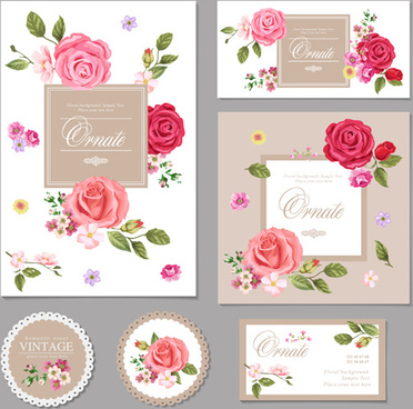 flower vintage cards kit vector