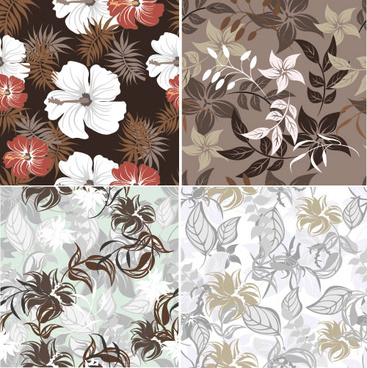 flower vintage vector seamless pattern set