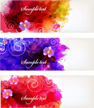 flower watercolor vector banners
