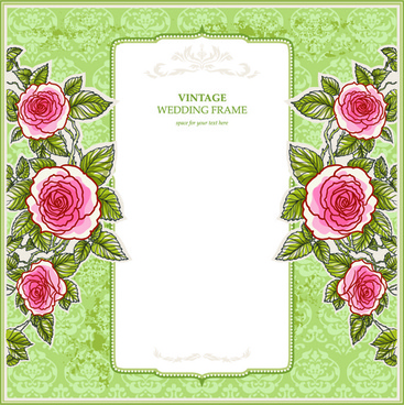 red flower wedding invitation background design free vector download