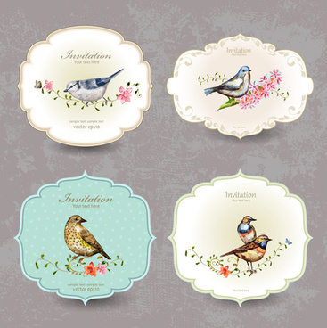 flower with bird vintage invitation cards vector