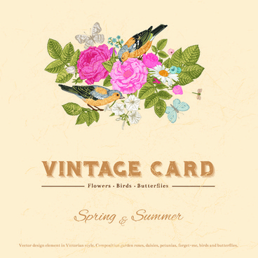 flower with birds and butterflies vintage card vector