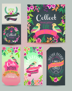flower with birds vintage cards vector