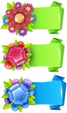 flower with origami banner vector