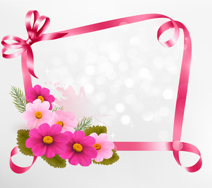 flower with ribbon frame vector
