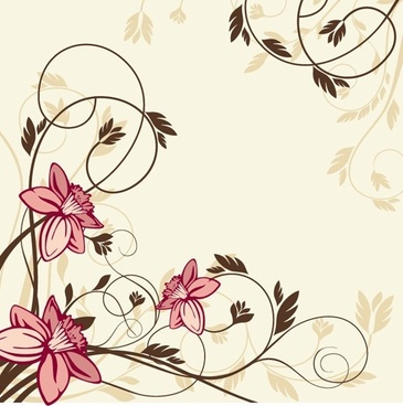 flower with swirl floral vector illustration