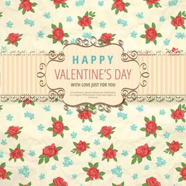 flower with valentine day background vector