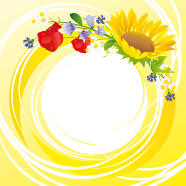 flower with yellow round background vector graphics