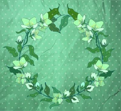 flower wreath background classical green decor