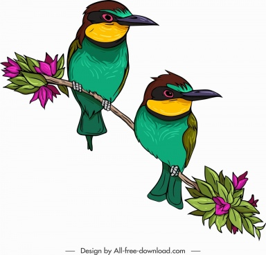 flowerpecker birds icons cute colorful classical design