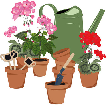 flowerpot and flower vector set
