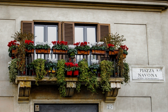 balcony decorated with multicolored flowers