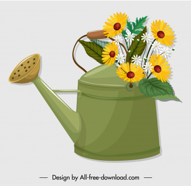 flowerpot icon showering pot sketch classical design