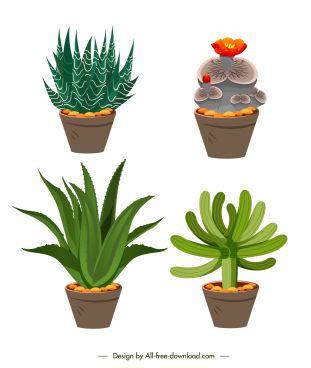 flowerpot icons colored classic design